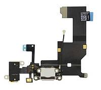 Шлейф для iPhone 5SE с разъемом зарядки, коннектором наушников и микрофоном черный, оригинал