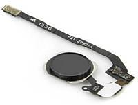 Шлейф для iPhone 5SE с кнопкой меню (Home) и черной пластиковой накладкой, оригинал