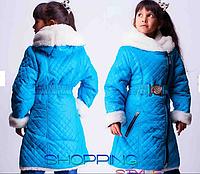 Детское зимнее пальто на холлофайбере для девочки,S-Style