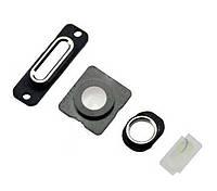 ✅Набор для iPhone 5 внешних колец на разъемы зарядки и гарнитуры, стекла внешней камеры и фотовспышки черный (4шт)