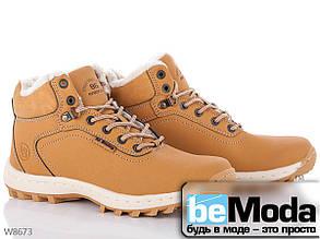 Оригинальные и очень удобные мужские ботинки с качественных искусственных материалов желтовато-коричневые