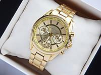 Женские (Мужские) кварцевые наручные часы Michael Kors золотого цвета, с тремя дополнительными циферблатами, фото 1