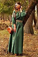 Женское вышитое платье в пол зеленое, фото 1