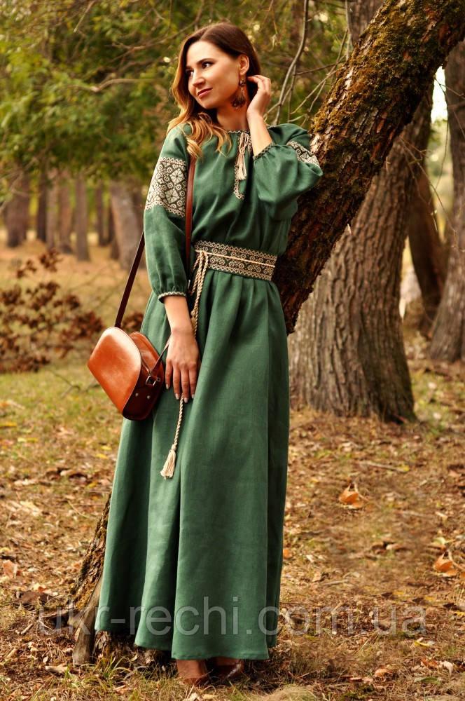 Женское вышитое платье в пол зеленое
