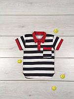 Детская рубашка для мальчика на планке в полоску. 100 % хлопок, кулир, р.р.28-34