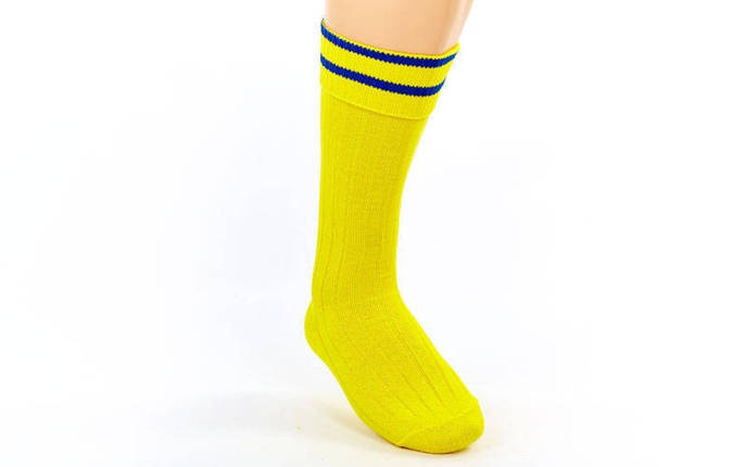 Гетры футбольные юниор желтые с синей полосой CO-5608-YB, фото 2