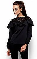 Молодіжна чорна гіпюрова блузка Argentina