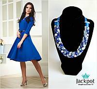Дизайнерське синє кольє косичка зі стазами і бусинами + сережки китиці в ПОДАРУНОК!