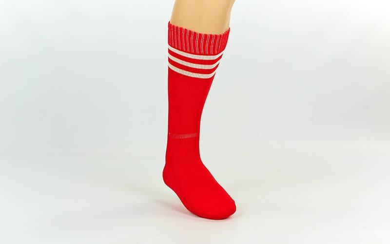 Гетры футбольные взрослые красные с белой полосой CO-120-R