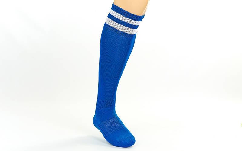 Гетры футбольные взрослые синие с белой полосой CO-3256-BL