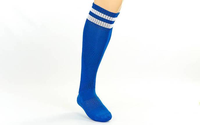 Гетры футбольные взрослые синие с белой полосой CO-3256-BL, фото 2