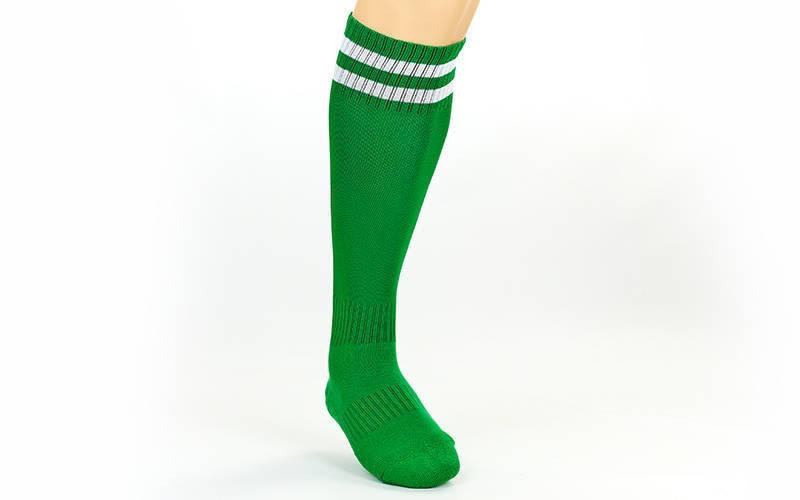 Гетры футбольные взрослые зеленые с белой полосой CO-3256-DG