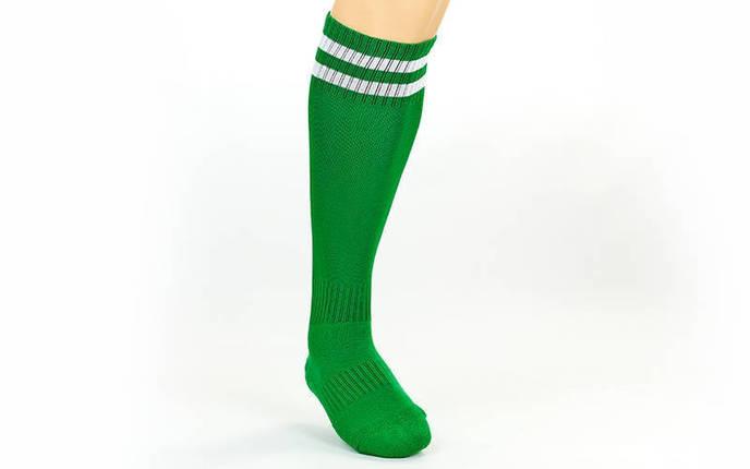 Гетры футбольные взрослые зеленые с белой полосой CO-3256-DG, фото 2