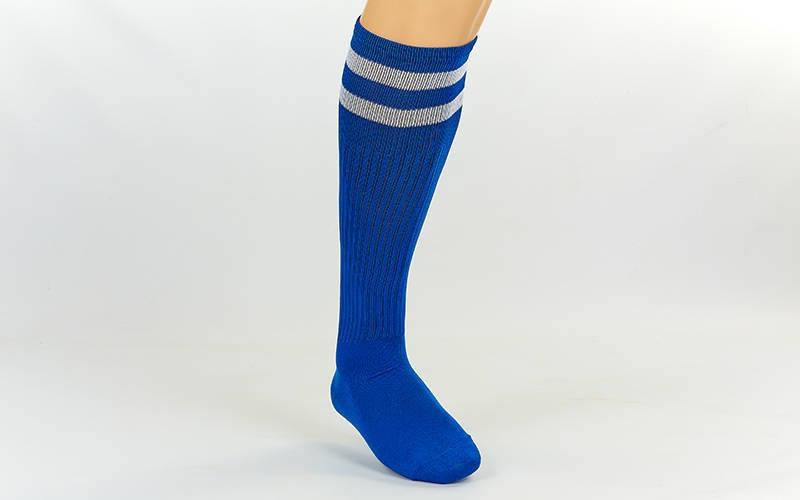 Гетры футбольные взрослые синие с белой полосой CO-3257-BL