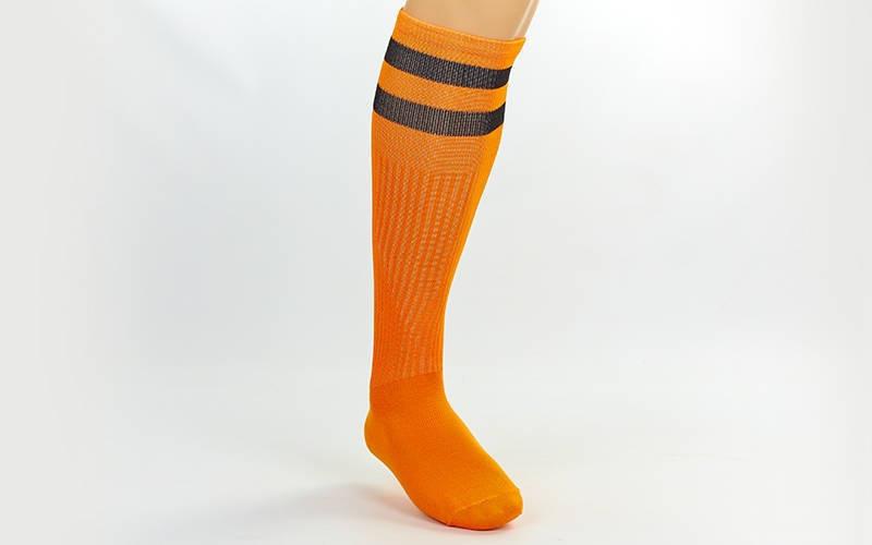 Гетры футбольные взрослые оранжевые с черной полосой CO-3257-O