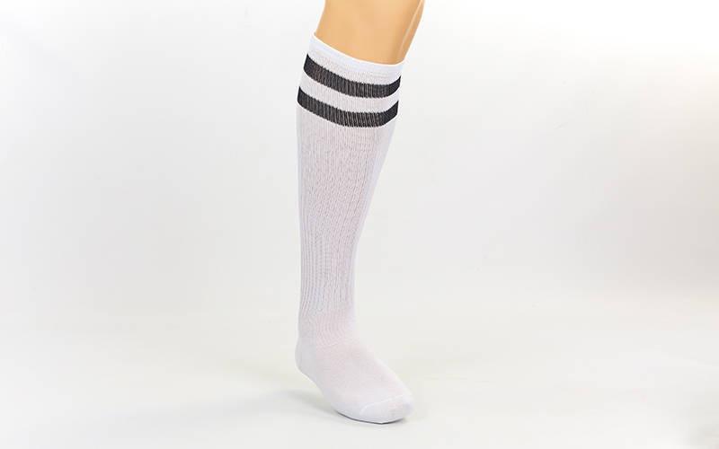 Гетры футбольные взрослые белые с черной полосой CO-3257-W