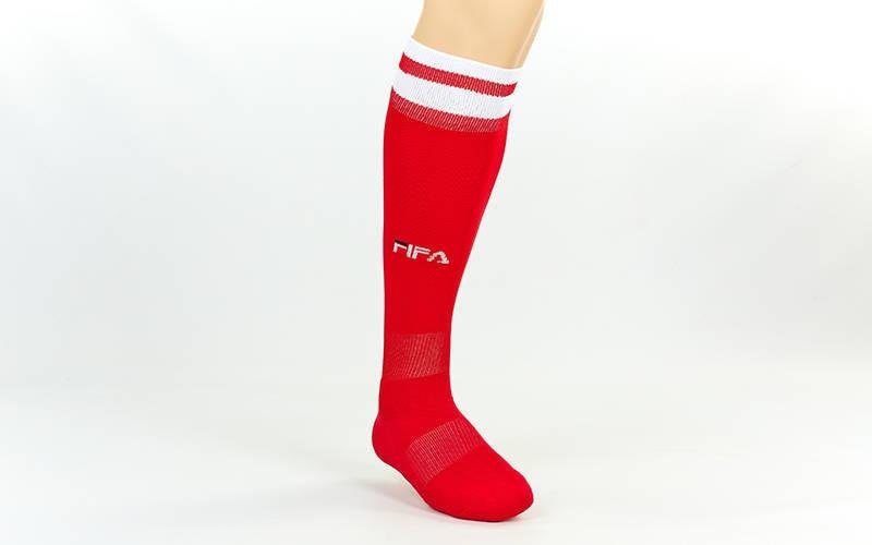 Гетры футбольные взрослые Fifa красные с белой полосой CO-5507-R