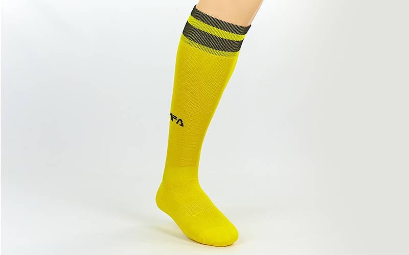 Гетры футбольные взрослые Fifa желтые с черной полосой CO-5507-Y