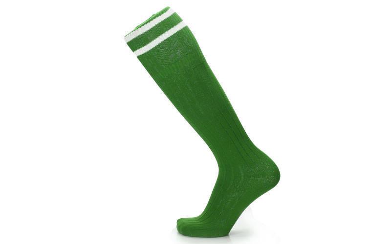 Гетры футбольные взрослые зеленые с белой полосой CO-5601-G