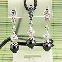 Гематит, Ø8 мм; срібло, комплект кулон і сережки, 040КМГ