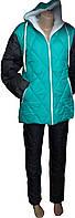 Зимний теплый костюм куртка и штаны бирюза, зимние костюмы оптом от производителя