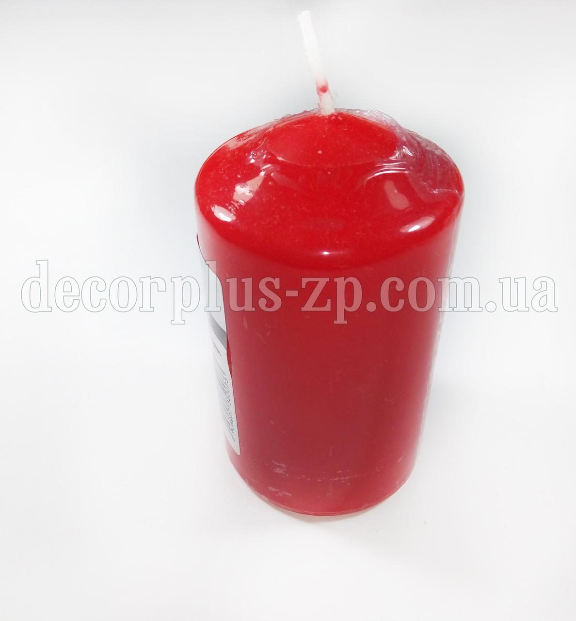Свеча декоратив. цилиндр 12*6см. Красная