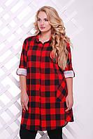 Женская красная рубашка в клетку  Лоренс ТМ Таtiana 54-60 размеры