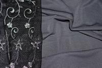 Ткань трикотаж креп дайвинг серый темный не плотный