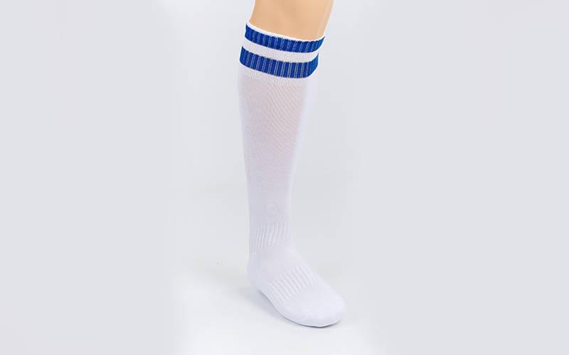 Гетры футбольные взрослые белые с синей полосой CO-3256-WB