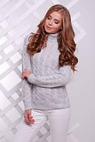 Теплий сірий светр з коміром під горло Lisa (S-L)