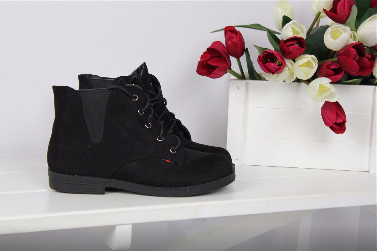 Ботинки женские на резинке (черные), ТОП-реплика