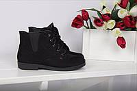 Ботинки женские на резинке (черные), ТОП-реплика, фото 1