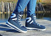 Женские зимние дутики на шнурках синие №40