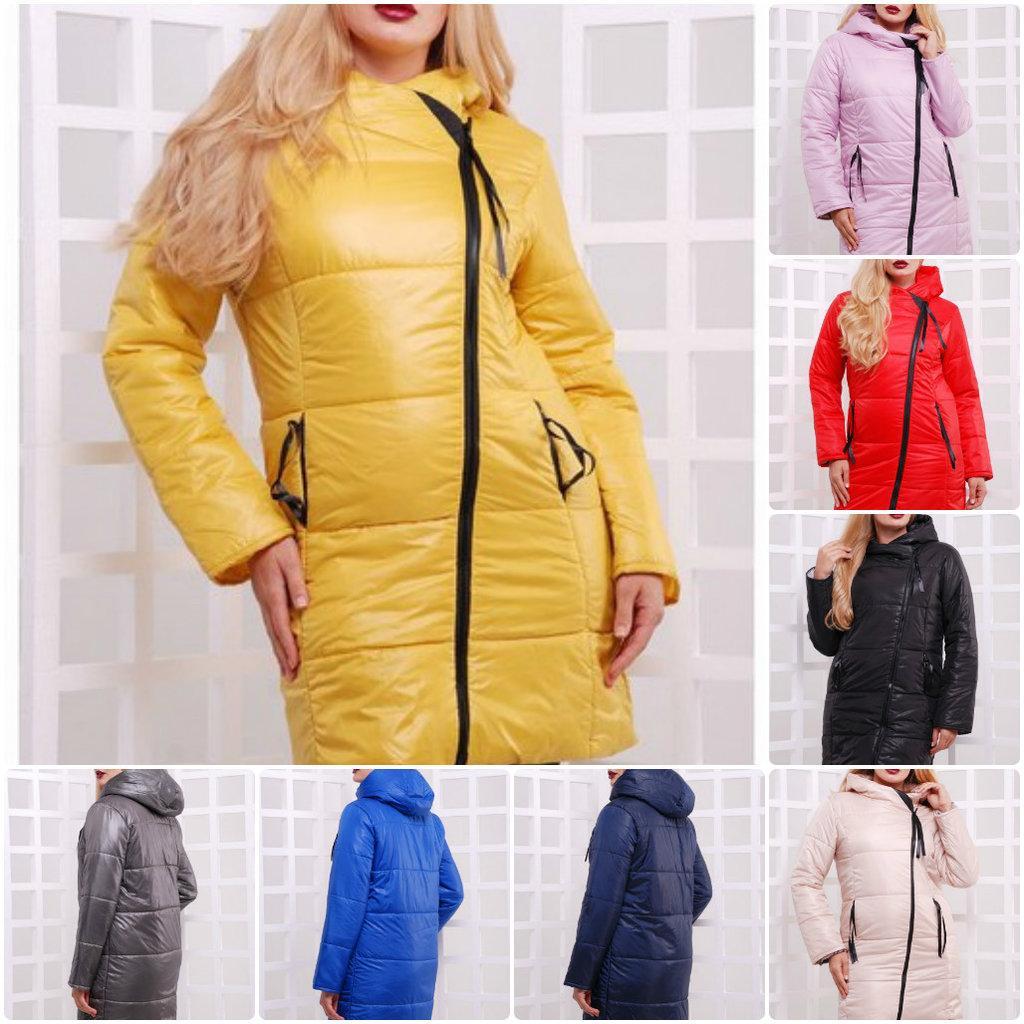 Удлиненная теплая курточка с косой молнией, капюшон, батал