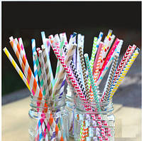 Трубочки бумажные для напитков разных цветов