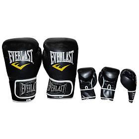 Перчатки боксерские PU на липучке EVERLAST BO-3987-BK