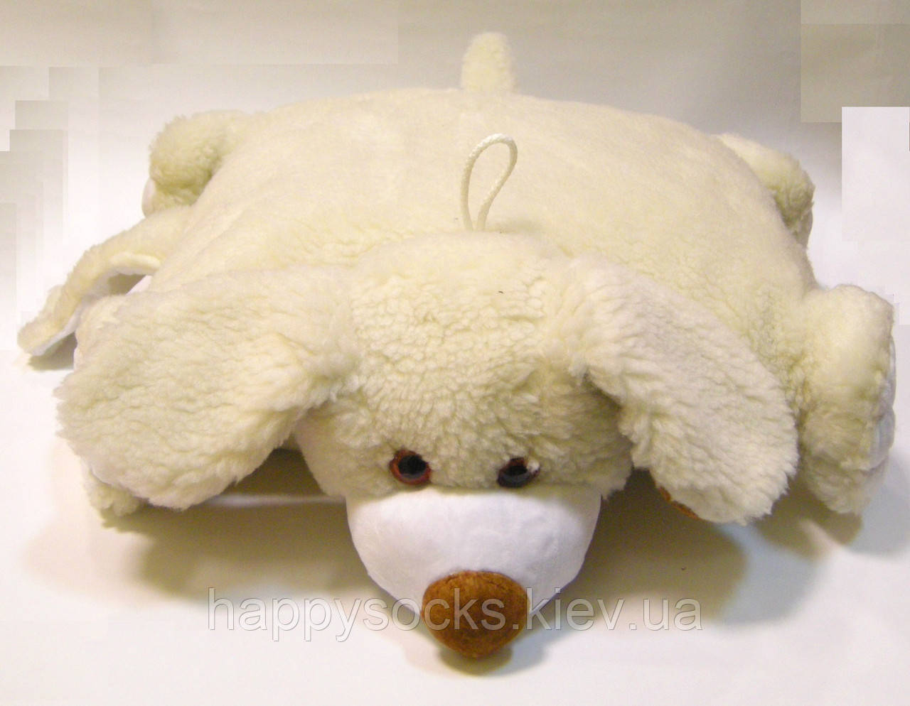 Подушка-игрушка из овечьей шерсти декоративная Собака