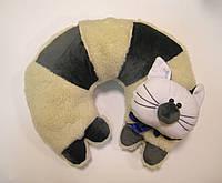 Декоративная подушка-игрушка для шеи Кот из овчины