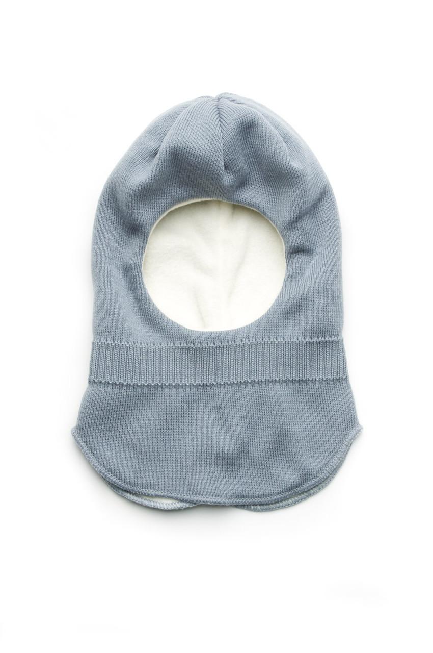 Шапка-шлем для мальчика серо-голубой