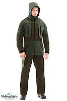 "Рыболовный костюм мембранный Fishing Style ""Soft Shell Strong"" (Серо-зелёный)"