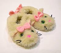 Теплые детские тапочки-носки из овчины Кошечка