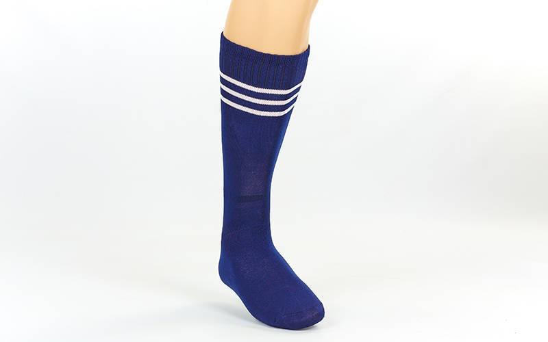 Гетры футбольные взрослые темно-синие с белой полосой CO-120-N