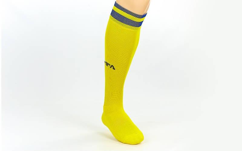 Гетры футбольные взрослые Fifa желтые с синей полосой CO-5507-YB