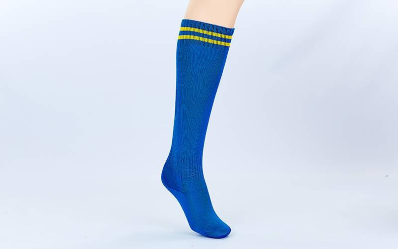 Гетры футбольные детские синие с желтой полосой EDP603-B