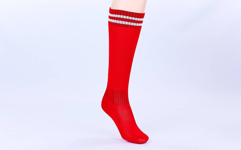 Гетры футбольные детские красные с белой полосой EDP603-R