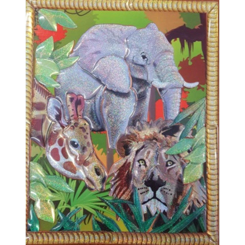 Дерев'яний вітраж-пазл: Слон, жираф, лев (17,5*18,5см)( Ч )