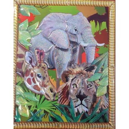Дерев'яний вітраж-пазл: Слон, жираф, лев (17,5*18,5см)( Ч ), фото 2