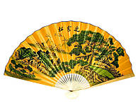 """Веер китайский настенный """"Пейзаж с летящими журавлями на желтом фоне"""" шелк"""