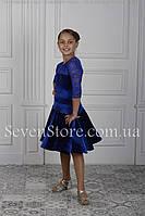 Рейтинговое платье Бейсик для бальных танцев Sevenstore 9104 Електрик
