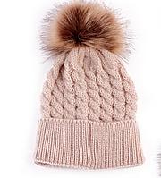 Детская зимняя шапочка для малыша (коричневая) теплая вязанная